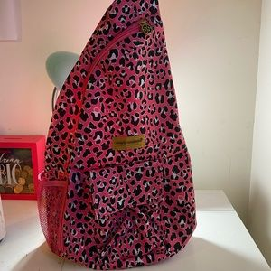 Simply Southern Pink Leopard Sling Backpack